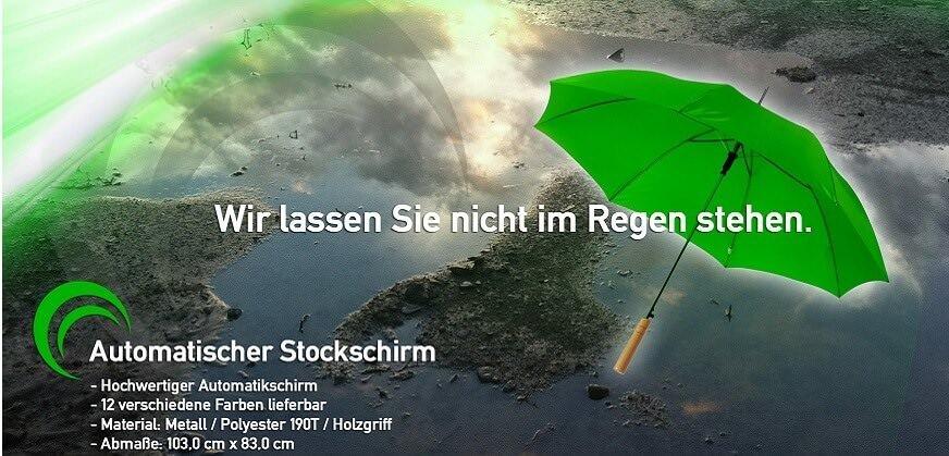 Regenschirm bedruckt. Geringe Mengen Stockschirme mit Logo bestellen