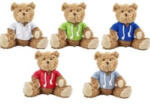 Teddybär mit Kapuzenshirt - 12 Stück inklusive einfarbiger Druck