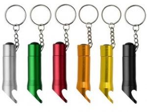 Kapselheber mit Lampe und Schlüsselanhänger aus Metall - 30 Stück inklusive Gravur