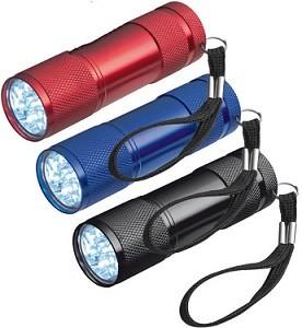 Helle Taschenlampe aus Aluminium mit 9 LED´s  - 20 Stück inklusive einfarbiger Druck