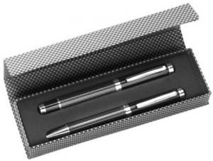 Edles Schreibset mit Tintenroller und Kugelschreiber aus Metall